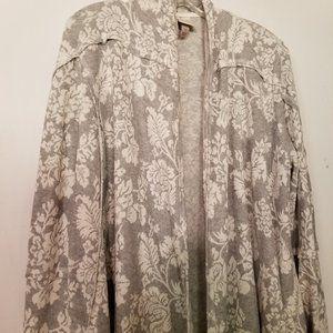 Knox Rose Gray Flowered Cardigan - Zip Sleeve